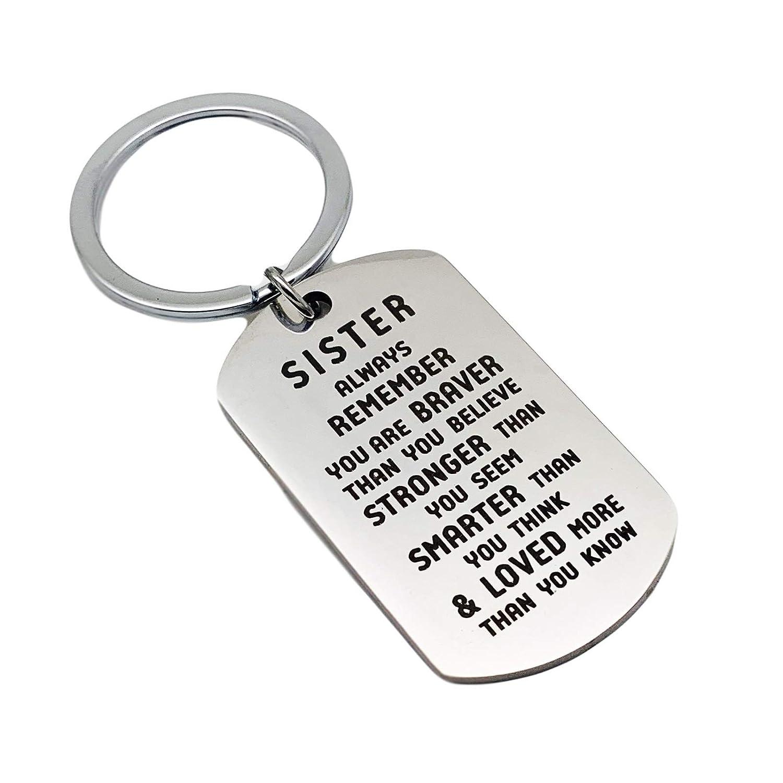 Femmes Porte Clef en Acier Inoxydable cisel/é Brother//Sister Remember You are Brave Argent Style F Gnzoe Portes-cl/és