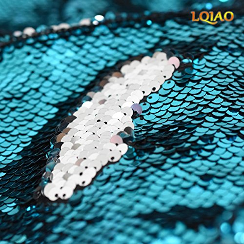 125x92cm Turquoise Silver Reversible Sequin Fabric By The Yard Mermaid Mesh Sequin Fabric Magic Overlapping Sequin for Girl Costume Dress/Lady Evening Dress Pillow Cushion Cover ()