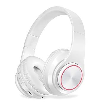 QLtech Auriculares de Diadema Cerrados, Cascos inalámbricos Bluetooth Plegable con Micrófono y Luces Led para Apple iPhone X, 8, 7lus,6,Samsung Huawei ...