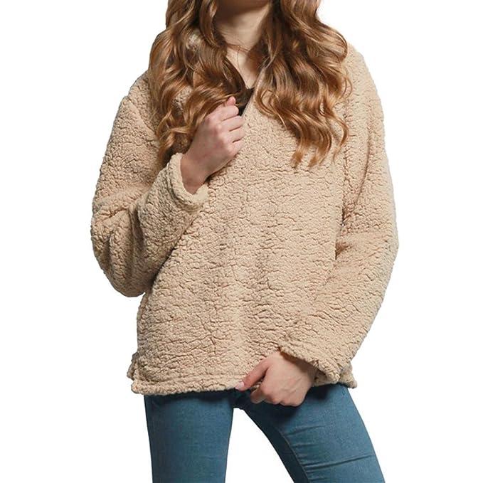 Amlaiworld Sweatshirts Winter warm Rollkragen Sweatshirt Damen Langarm  weich flauschig locker pullis Plüsch Pullover (Beige 81ec989991