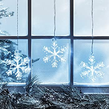 battery operated cool white led acrylic snowflake hanging christmas window light decoration - Battery Lighted Christmas Decorations