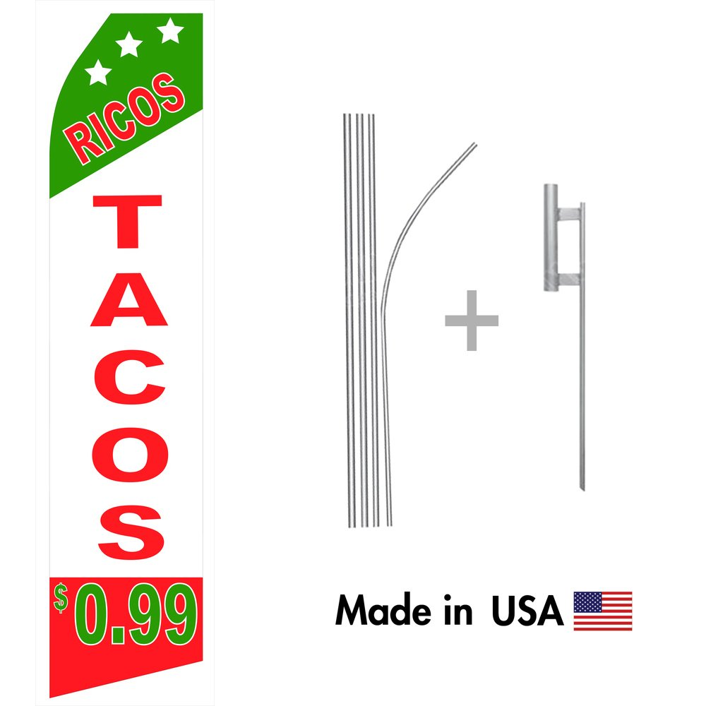 Amazon.com : wall26 Ricos Tacos Econo Flag | 16ft Aluminum Advertising Swooper Flag Kit with Hardware : Garden & Outdoor