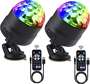 Disco Ball Party Lights Portable Rotating Lights Sound Activated LED Strobe Light 7 Color with Remote and USB Plug in for Car Home Room Parties Kids Birthday Dance Wedding Show (2-Pack)