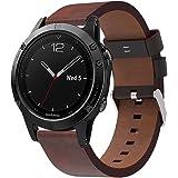 XIHAMA Véritable Bracelet en cuir pour Garmin Fenix 5 Montre, Quickfit Remplacement Bracelet Fitness Sport Bracelet Réglable Bracelet pour Fenix 5 Smart Watch (Ne pas Fenix 5X / 5S)