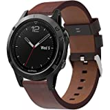 XIHAMA Genuine Leather Smart Watch Strap for Garmin Fenix 6S Fenix 5S, Wristband Fitness Sport Band Adjustable Buckle Bracelet for Smart Watch