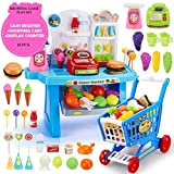 SuperMarket Cash Register + Shopping cart with Groceries Play Set for Kids - Educational and Interactive Toy (Blue)