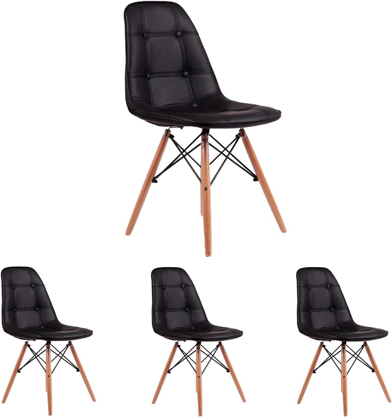 N//A Ensemble de 4 chaises avec rev/êtement en Cuir PU de Style Moderne clouez Les Pattes arri/ère avec des chaises Longues en Bois c/ôt/é Salle /à Manger Noir Serrure de t/ête du Milieu du si/ècle