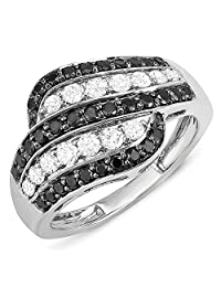 1.05 Carat (ctw) 10k White Gold Black & White Round Diamond Ladies Cocktail Right Hand Ring 1 CT