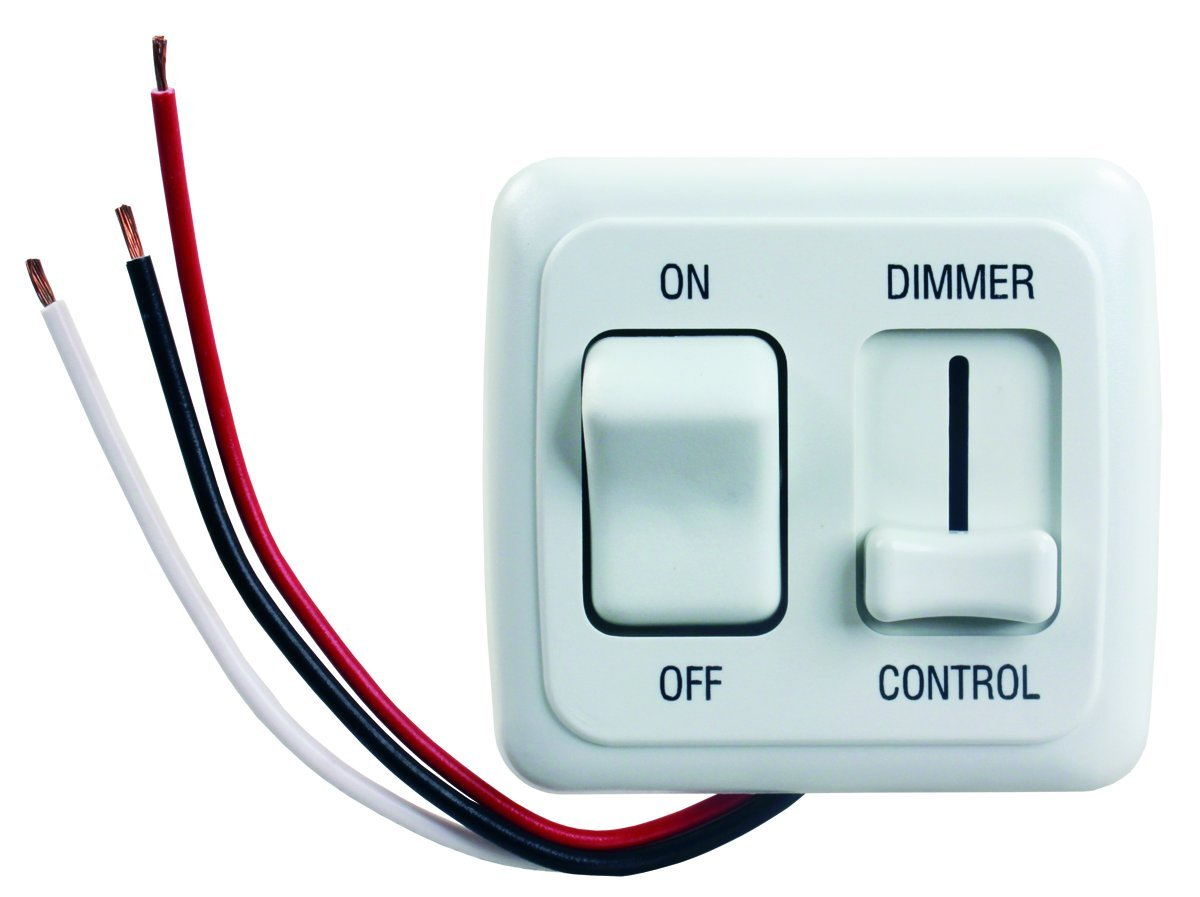 JR Products 15205 White LED Dimmer On/Off Switch