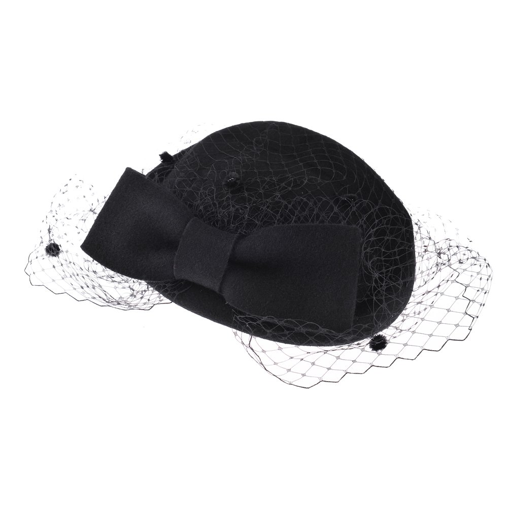 VBIGER Women's Fascinator Wool Felt Pillbox Hat Cocktail Party Wedding Bow Veil (Black)