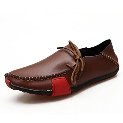 f2286bceeb575 WENJHEN Men's Fashion Moccasin Shoes Driving Boat Shoes Summer Soft Casual  Leather Loafers Slipper Brown