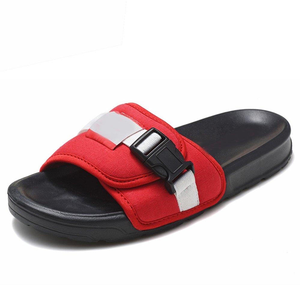 DYY Deslizador Masculino, Sandalias Que Llevan al Aire Libre de la Moda del Verano,Rojo Negro,43 43|Rojo negro