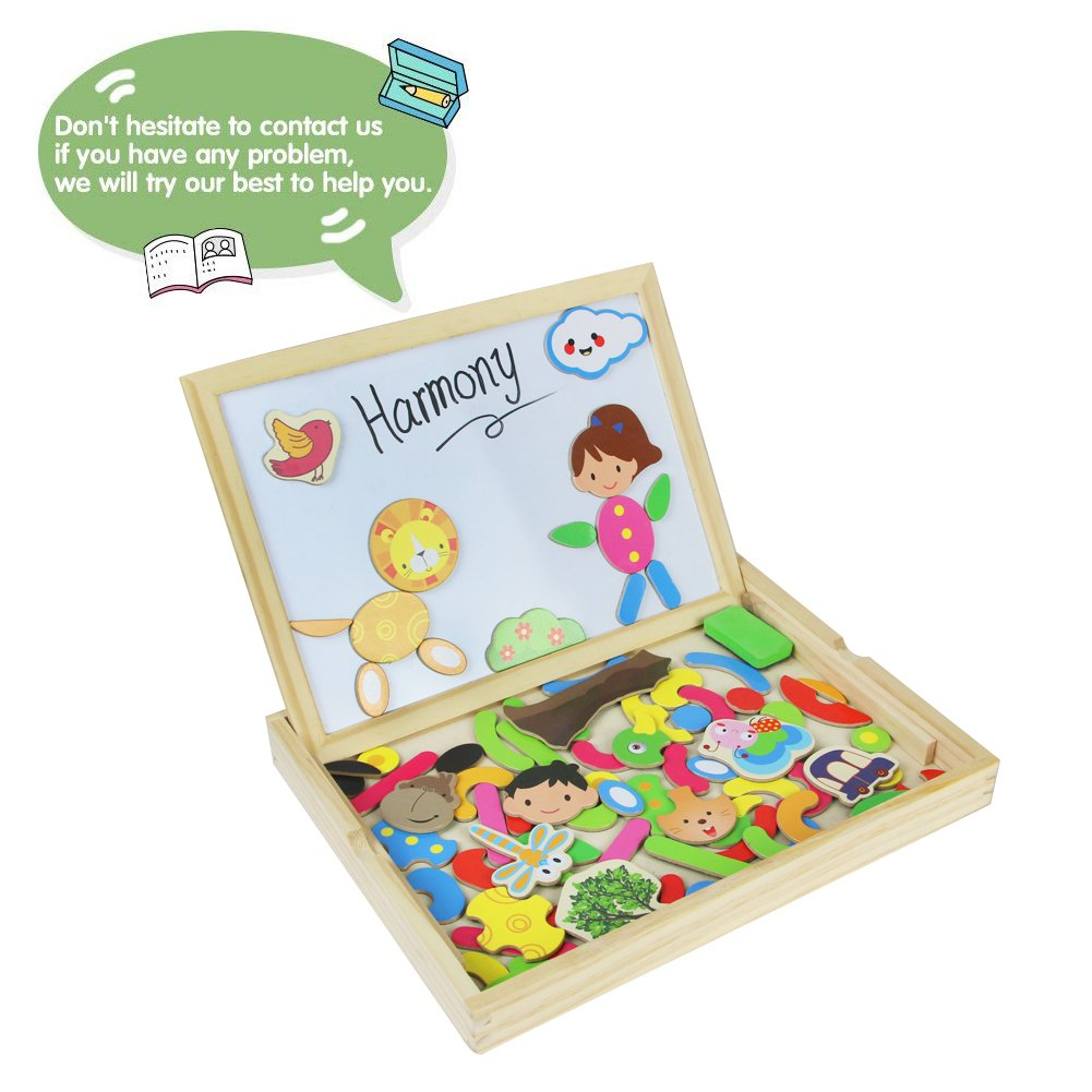 Wooden Jigsaw Puzzles Magnetic Jigsaw Puzzles|Double Sided Magnetic Drawing Writing Board for Children Boys Girls 3 4 5 Year olds|Wooden Educational Toys|Human&Animal Theme|71 Pieces