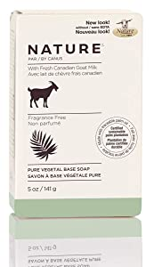 Nature by Canus Pure Vegetal Base Soap With Fresh Canadian Goat Milk, Fragrance-free, 5 Ounce, 24 Count