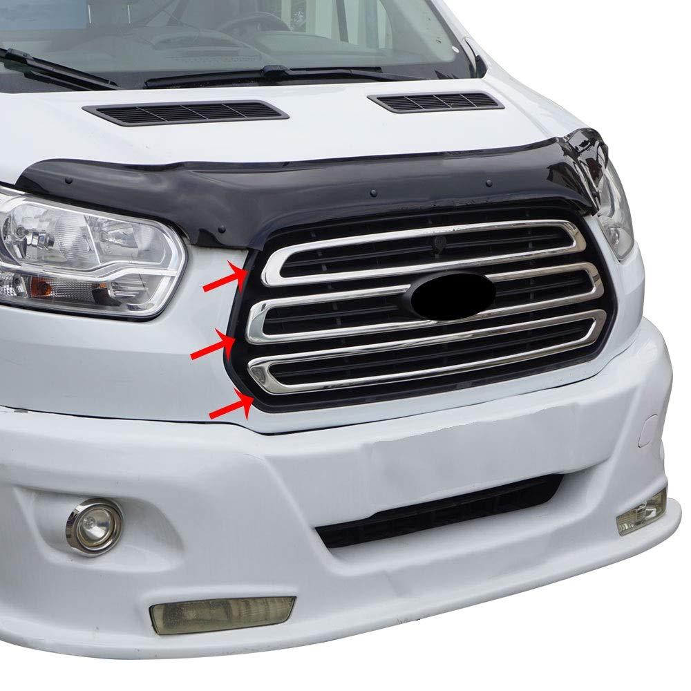Chromeline Lot de 3 Garnitures chrom/ées pour Grille Avant en Acier Inoxydable Brillant pour Ford Transit MK8 150-250-350-350HD Entre 2014 2018