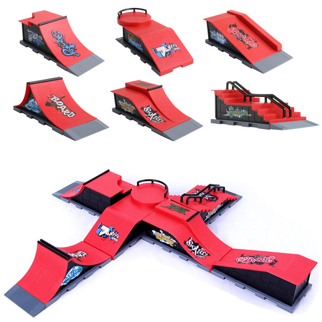 NNDA CO Skate Park Ramp Parts A-F for Tech Deck Fingerboard Finger Board Ultimate Parks (1set/6pcs)