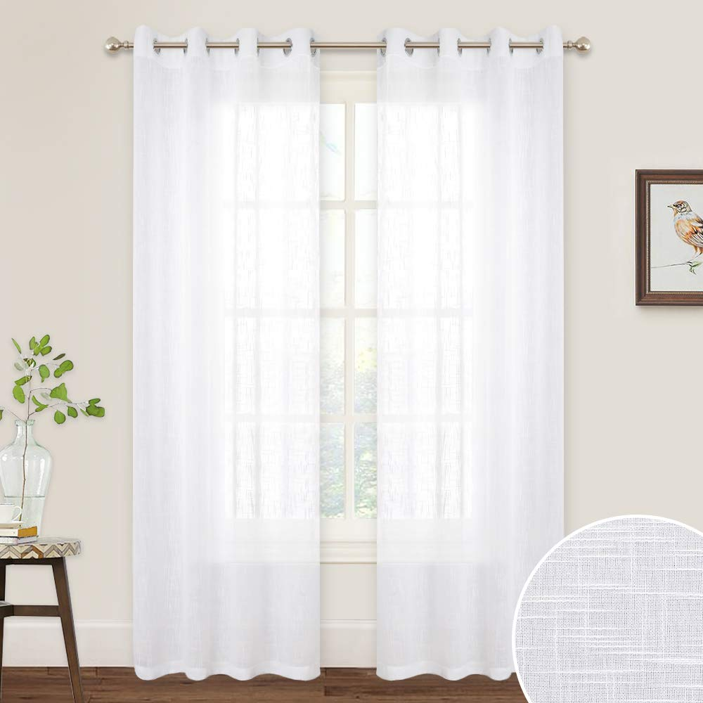 RYB HOME Sheer Curtains 84 inches - Linen Textured Vertical Voile Shades for Living Room Window Drapes Light Filtering Privacy Semi Sheer White for Bedroom Canopy Sun Room Wedding, 52 x 84, 2 Pcs
