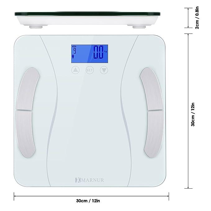 MARNUR Báscula digital Báscula de grasa corporal con sensor de alta precisión BIA técnica de medición para análisis el cuerpo lichen Composición: Amazon.es: ...