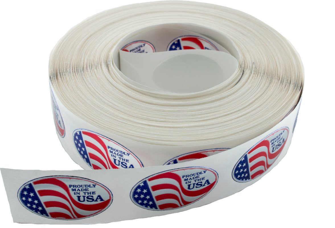 Roll of 1'' x 1-1/2'' Oval 'Proudly Made in the USA' Foil Stamped Labels Seals Stickers (1000)