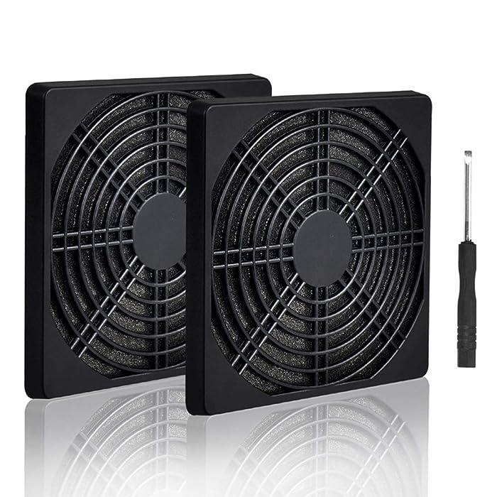 ELUTENG 120mm Fan Filter 2 Pack IP40 Dustproof Blower Guard ABS Computer Ventilator Grill 12cm Fan Mesh Cover Tool-Free Fan Strainer Compatible for 120x120 Case Fan USB Cooling Fan