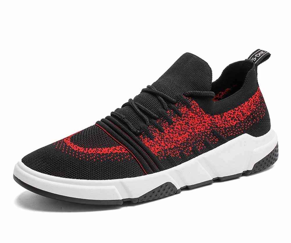 GLSHI Männer atmungsaktiv Laufschuhe leichte gestrickte Sportschuhe Outdoor Freizeit Fitness Schuhe
