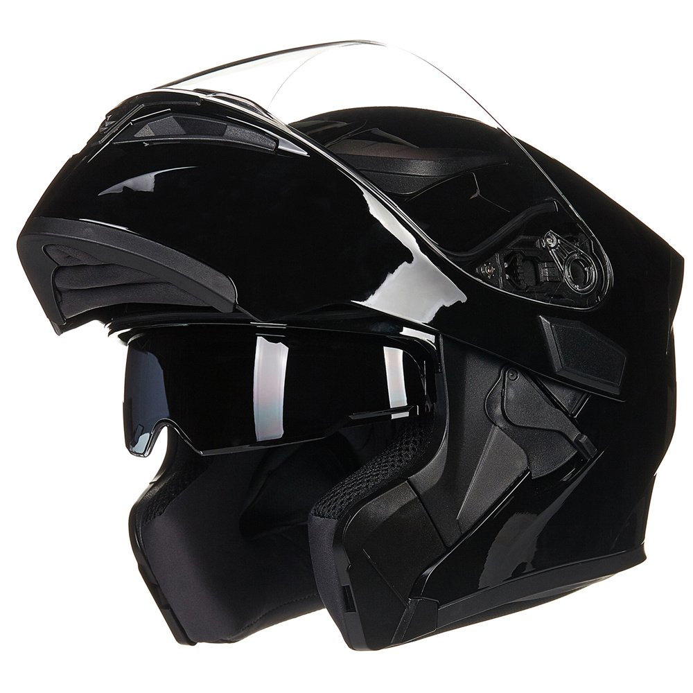 ILM Motorcycle Dual Visor Flip up Modular Full Face Helmet DOT with 6 Colors (M, GLOSS BLACK)