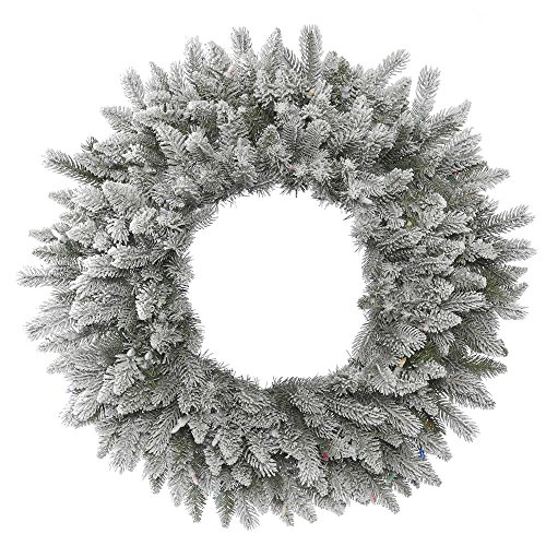 Vickerman A156836 Pine Wreath With Iridescent Glitter & 240 PE/PVC Tips, 36