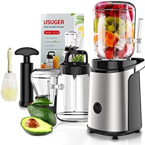 Juicer, USUGER Juicer Machine Vegetable and Fruit Juicer Extractor with Grinding Cup, Small Electric Juicer, Stainless Steel Juicer Maker Portable Blender with Recipe for Shake and Smoothies, Plus Cleaning Brush, Easy to Clean, BPA Free