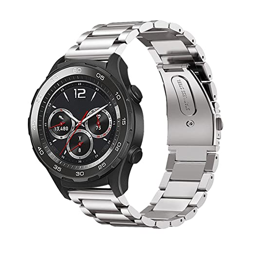 Huawei Watch 2 Band, Shangpule Stainless Steel Metal Replacement Bracelet Strap for Huawei Watch 2 Sport Version(not for Classic Version) (Metal ...