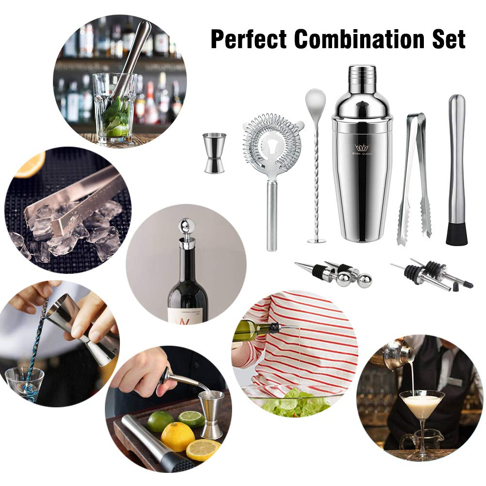Mixing Spoon Strainer and More Muddler Liquor Pourers Professional Stainless Steel Shaker Cocktail Shaker Bartender Kit Ice Tongs Double Jigger 10 Piece Bar Cocktail Making Set