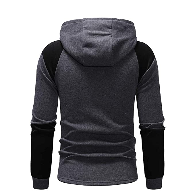 ARTFFEL Mens Fall /& Winter Fleece Hoodie Warm Loose Fit Plus Size Hooded Sweatshirts Jacket Coat Dark Grey 2XL