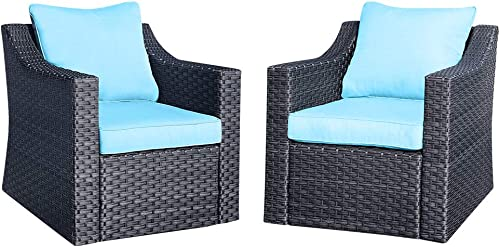 Stamo Outdoor Patio Conversation Furniture Sets 2 Piece Single Chairs, All Weather Charcoal PE Rattan Wicker Cushioned Patio Sofa Lounge Chairs with Olefin Blue Cushions