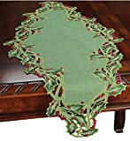 Xia Home Fashions Holiday Holly Embroidered Cutwork Christmas Table Runner, 16 by 34-Inch, Green
