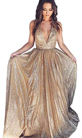 bf85b072 Dressylady Sparkly Deep V Neck Champagne Long Prom Dress Sequins A Line  Formal Evening Gowns 2