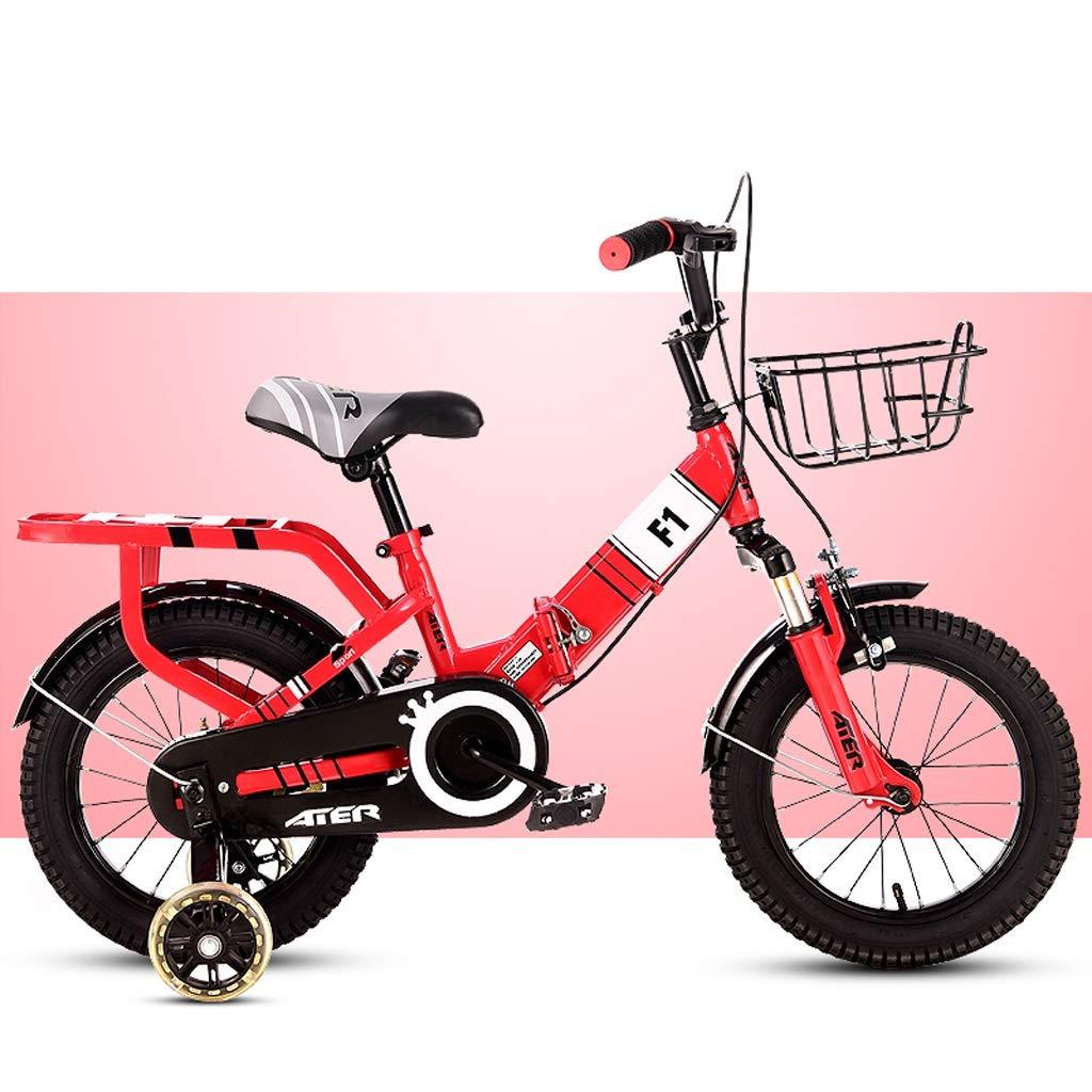 キッズバイク折りたたみ式バイク子供用自転車男の子女の子28歳の乳母車子供用ペダルバランスバイク1216インチ自転車アウトドアサイクリング、子供向けの最高の贈り物レッド (サイズ さいず : 14 inches) 14 inches  B07QJZFCP7