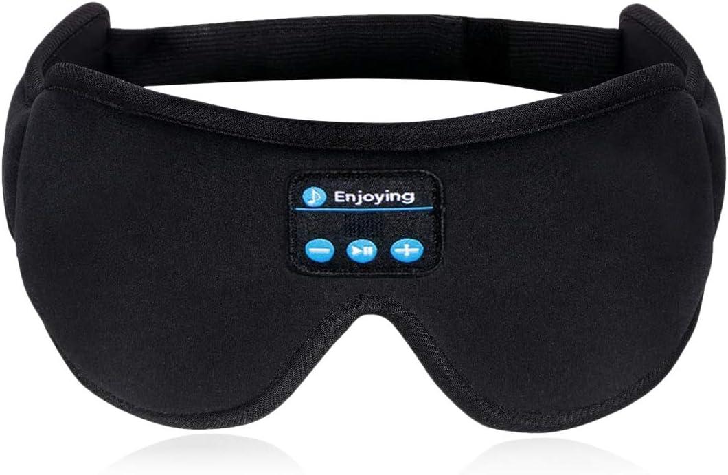 Máscara de ojos con Bluetooth, auriculares de seda para dormir, música para viajar, auriculares para dormir 5.0