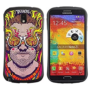 Hybrid Anti-Shock Bumper Case for Samsung Galaxy Note 3 / Abstract Psychedelic Sunglasses