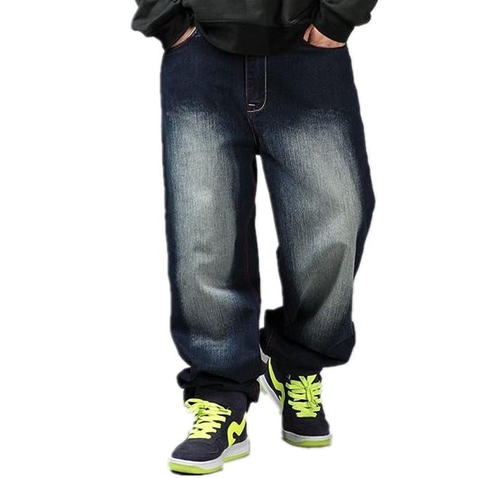 WoowTry Men's Multi-Style Nightclub Hip Hop Baggy Denim Jeans Black 44