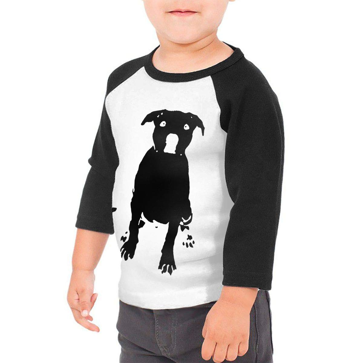 Pitbull Dog Silhouette Unisex 100/% Cotton Childrens 3//4 Sleeves T-Shirt Top Tees 2T~5//6T