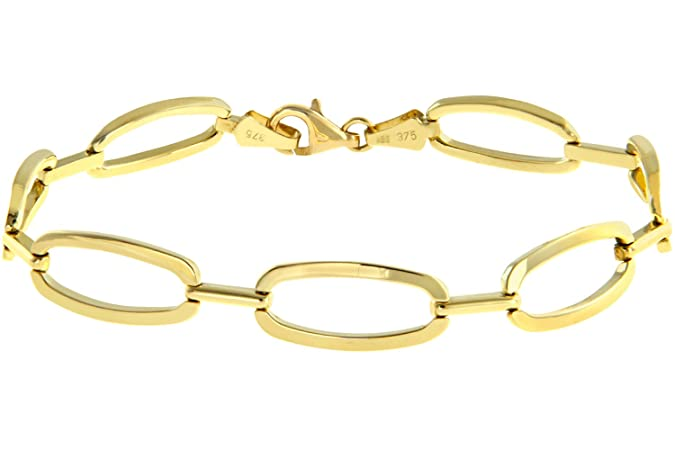 Citerna 9 ct White Gold Large Oval Loops Link Bracelet of Length 19.5 cm R6Xk5reX