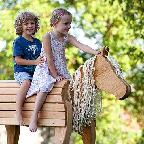 NEU Holzpferd Bayerwald-Pony Wildfang TÜV-Süd GS DIN 1176 Kindergarten & Spielplatz 89cm