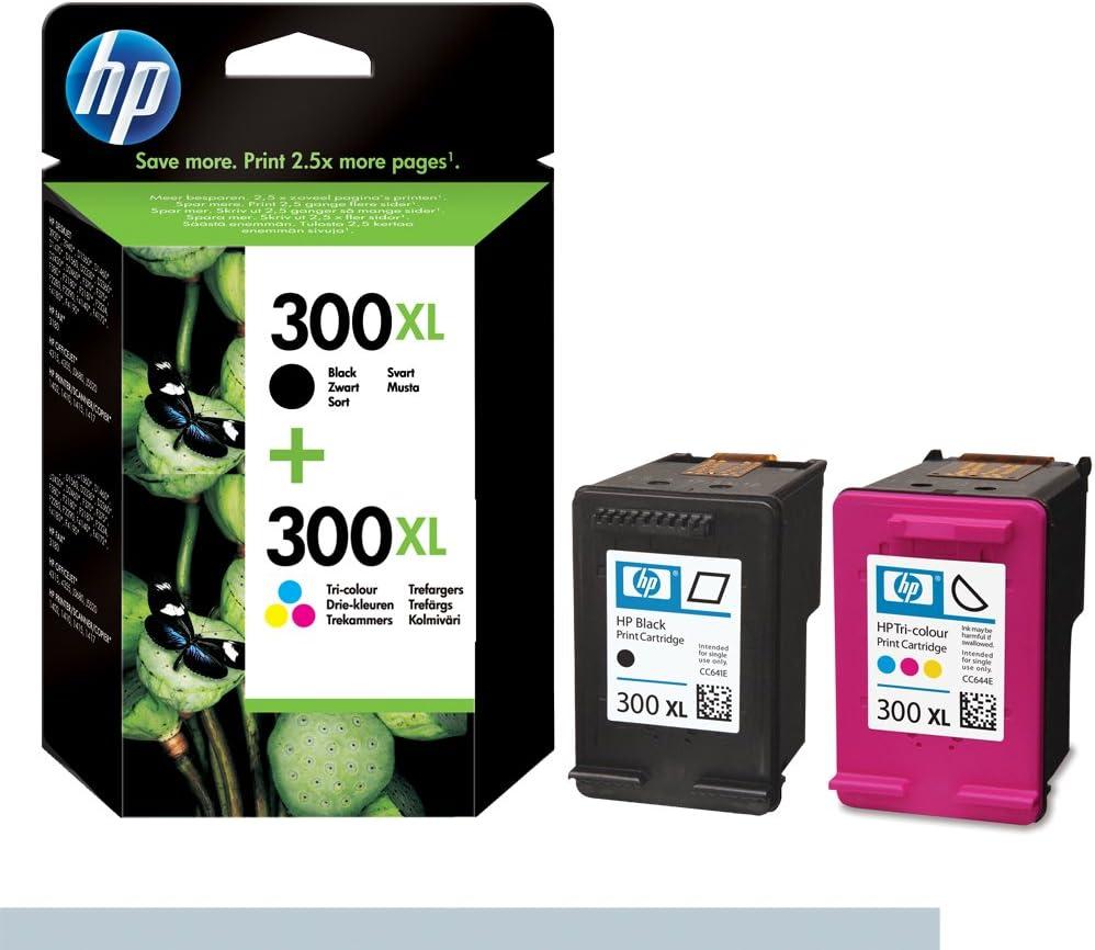 HP 300XL - Juego de 2 cartuchos de tinta, color negro y tricolor ...