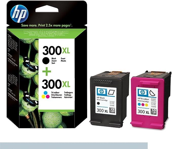 HP 300XL - Juego de 2 cartuchos de tinta, color negro y tricolor: Amazon.es: Oficina y papelería