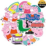 DEBON Luggage Tags Stickers Peppa Pig Sticker Decal Label Cars PC IPAD Bumper Skateboard Helmet Auto Bikes Ride Patches Truck Funny Cartoon Waterproof Removable Wall Decals Gift for Girls Women Kid