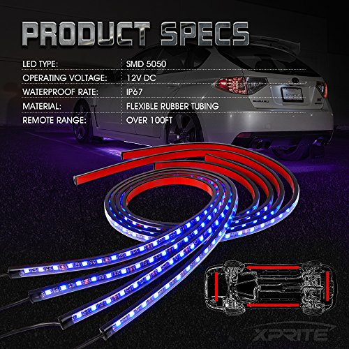 Xprite-4PCs-Car-Neon-Underglow-Underbody-LED-Light-Kit-Undercar-Strip-Lighting-High-Intensity-LED-Rock-Lights-wSound-Active-Function-and-Wireless-Remote-Control