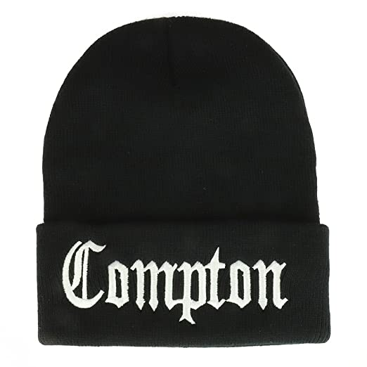 9c72f84fa0b Trendy Apparel Shop Compton Old English Font Embroidered Long Cuff Beanie-  Black