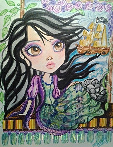 Adventures In Fantasy (Fantasy Girl in Window, Big Eye Adventure Girl's Room Art, Whimsical Girl art)