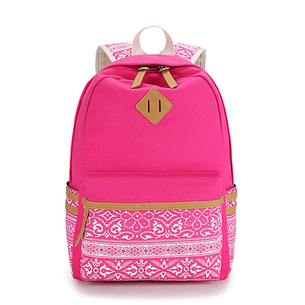 b2d82e0e99 Amazon.com  Winerbag Brand Canvas Printing Large Capacity Laptop Backpack  Women School Bags For Teenage Girls National Rucksack Female rose red   Computers   ...