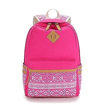 Impresión de lona marca Mochila para portátil de gran capacidad mujer mochilas escolares para niñas adolescentes Mochila Nacional rosa roja hembra: ...