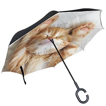 ALAZA rojo gatito gato dormir manta paraguas invertido doble capa resistente al viento Reverse paraguas